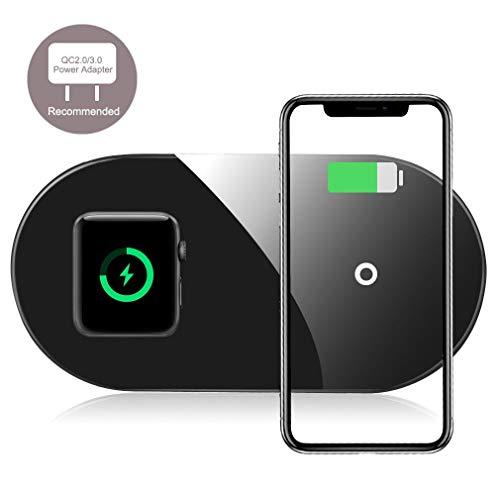 Wireless Charger für iPhone und Apple Watch, Te-Rich 7.5W Qi Ladestation für iPhone 11/X/XS/XR/8, Kabellose Ladestation für iWatch 5/4/3/2/AirPods2/Pro, 10W Induktions Ladegerät für Galaxy S10/S9 mehr
