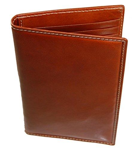 Castello Fine Italian RFID Leather Slim Bi-Fold Long Cardholder Wallet (cognac)