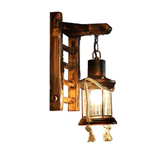 Aplique de pared Rústica lámpara de keroseno montado en la pared colgar de la pared de luz con bambú Base, cubierta Bar Café Restaurante Pasillo Decoración apliques