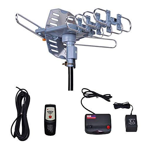 WillBrands HDTV Antenna Ampilfied Digital Outdoor Antenna&4K/1080p High Reception-40FT RG6 Coaxial Cable-150 Miles Range-360 Degree Rotation Wireless Remote-Snap-On Installation Support 2 TVS