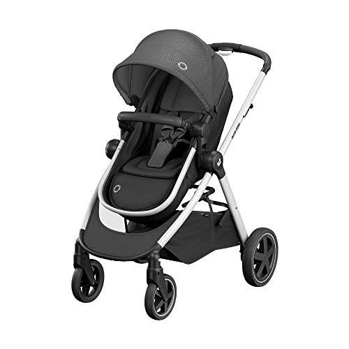 Maxi Cosi Zelia \'Essential Black\' - Cochecito Urbano 2 en 1, Diseño Compacto, Sistema Plegable, para Bebés de 0 Meses hasta 3, 5 Años, Color Negro