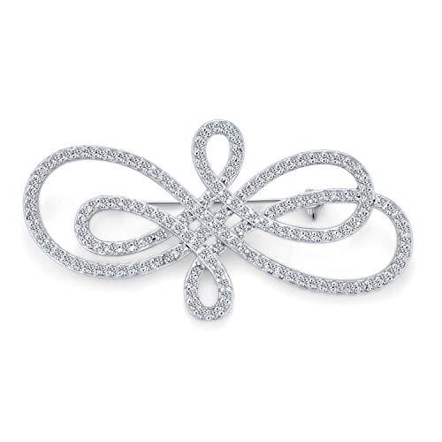 Vintage-Stil Große Unendlichkeit Wirbel Pflaster Zirkonia Brosche Pin Für Frauen Silber Ton Rhodium Vergoldet Messing