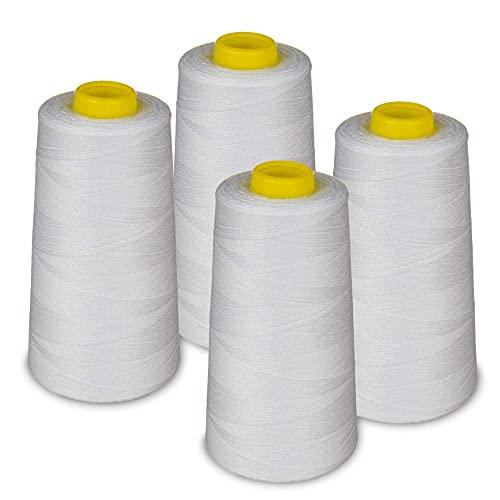 Lialina® Filo da Cucire Overlock 4 Bobine a Cono da 2700m 40S/2 100% Poliestere Colore Bianco...