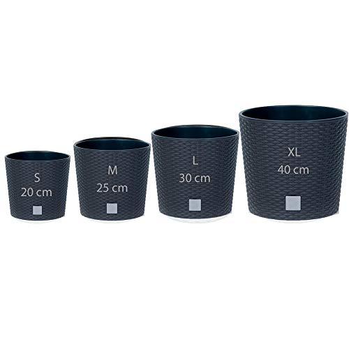 Wellhome 4er Pack Prosperplast Blumentöpfe rund (4,7/8,7/15,3/37,65 Liter) Rato Round aus Kunststoff in Anthrazit mit Einsatz