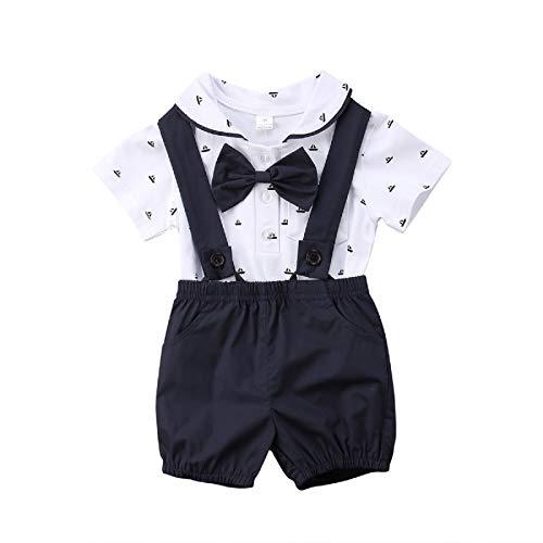 Bebé Recién Nacido Conjunto de 2 Piezas Traje de Caballero Mameluco de Manga Corta con Corbata de Bowknot y Cuello de Polo + Pantalones Cortos de Tirantes para Bautizo Cumpleaños (Negro, 0-6 Meses)