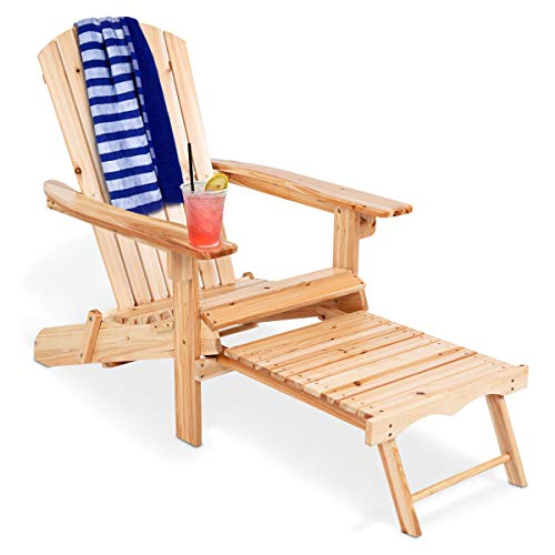 Giantex Adirondack Chair Foldable with Pull-Out Footrest, Outdoor Modern of 100% Solid Wood for...