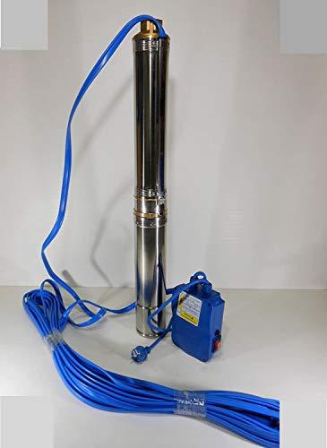 AGRIPRO Elettropompa sommersa Completa Inox Pompa pozzo 4' con Cavo e Quadro HP 1,5 V 220