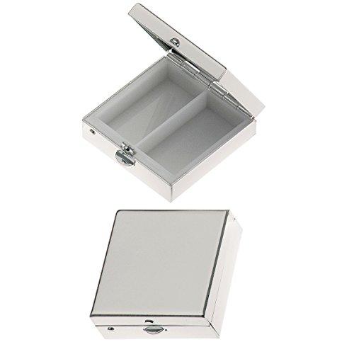SILBERKANNE Pillendose 2 geteilt quadratisch glatt 3,8x3,8x1,5 cm Silber Plated versilbert in Premium Verarbeitung
