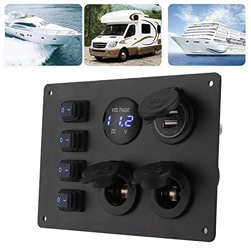 Panel de interruptores basculantes, panel de interruptores marinos Interruptores basculantes para barcos, puertos USB dobles fáciles de instalar con 4 tornillos para navegadores GPS para