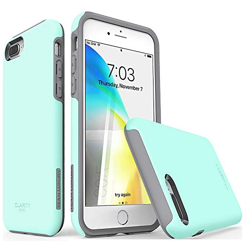 """TEAM LUXURY iPhone 7 Plus case/iPhone 8 Plus case, [Clarity Series] Updated [G-III] Ultra Defender TPU + PC Shock Absorbent Protective Case - for Apple iPhone 7 Plus & 8 Plus 5.5"""" (Soft Mint/Gray)"""