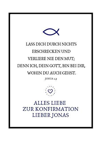 Personalisierbares Geschenk zur Firmung, Erstkommunion, Kommunion u. Konfirmation | Bild für Jungen | Kunstdruck, DIN A4, Poster