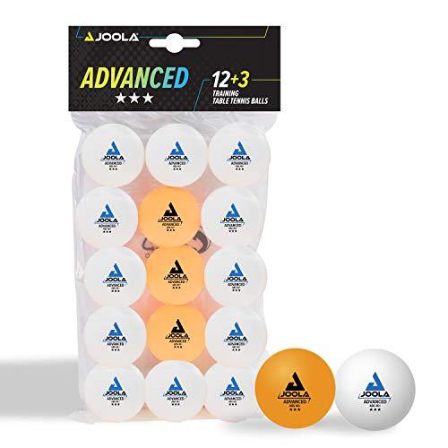 JOOLA Pelotas de Ping Pong de 3 Estrellas, Entrenamiento Advanced, 40 mm de diámetro, prémium, Color Blanco/Naranja, 15 Unidades