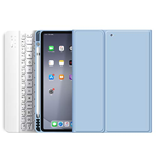 """kenke Keyboard Case for iPad Mini 5 2019 / Mini 4 with Pencil Holder,Soft TPU Back Stand Cover with Magnetically Detachable Wireless Keyboard for iPad Mini 5th Generation/Mini 4th Gen 7.9""""-Light Blue"""