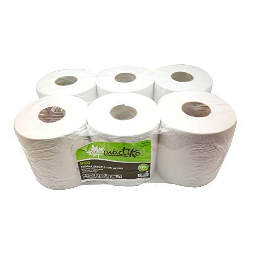 Bobina de papel ECOLÓGICO respetuoso con el medio ambiente, de gran calidad y doble capa. Pack de 6 bobinas.