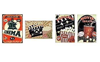 UNiQ Designs Popcorn Cinema Media Room Decor Tin Signs Theater Sign Movie Room Decor Accessories Film Decor Home Movie Theater Decor Movie Reel Wall Decor Vintage Movie Decor 4 Pack 12x8