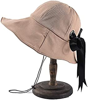 CHENDX Hat Female Spring and Summer Solid Color Wild Hat New Bow Fisherman Hat Hat Sun Visor Beach Hat (Color : Beige)
