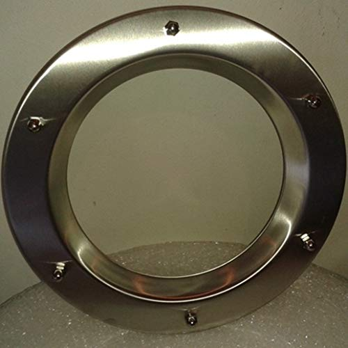 Ojo de buey para puerta de acero inoxidable INOX, 350 mm de diámetro, vidrio transparente, tuercas ciegas