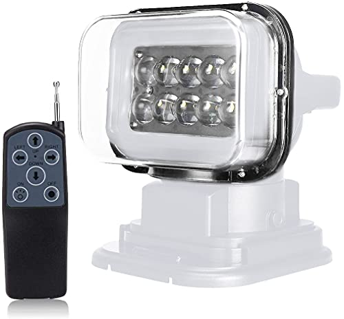Remote Control Spotlight, 12v 360º Rotate Remote Control Led Search Lights Work Light, Magnetic Spotlight for Truck SUV UTV Boat Home Security Protection Emergency Lighting Farm Field Garden (white)