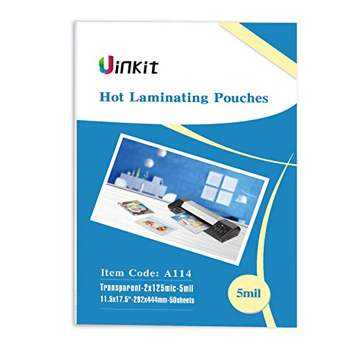 Hot Thermal Laminating Pouches 5Mil - 11.5x17.5 Inches for Sealed 11x17' Photo - 50 Sheets 11.5x17.5 inches Pack, Uinkit 24 Hours Service, 3 Years Warranty