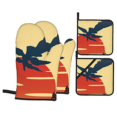 Samurai Champloo - Juego de guantes de horno y soportes para ollas, antideslizantes, resistentes al calor, guantes de cocina para barbacoa (juego de 4 piezas)