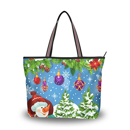 Shoulder Bags Tote Bag Light Weight Strap for Women Girls Ladies Student Christmas Gift Santa Sleigh Greeting Card New Year Holidays Purse Shopping Handbags