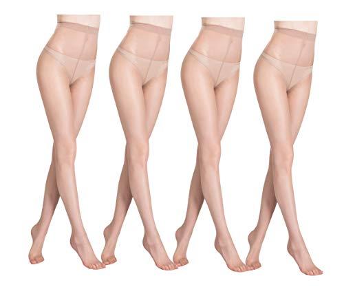 Yulaixuan Strumpfhose für Frauen 4 Paare Durchgehender, verstärkter T-Schritt 15 Denier Strumpfhosen strümpfe (4 Hautfarbe)