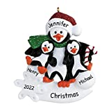 Personalized Parent Penguin with 2 Children Christmas Tree Ornament 2021 - Happy Kid Winter Holiday Foster Appreciate Tradition Day Year Dad Father Mom Mother Aunt Baby-Sitter - Free Customization