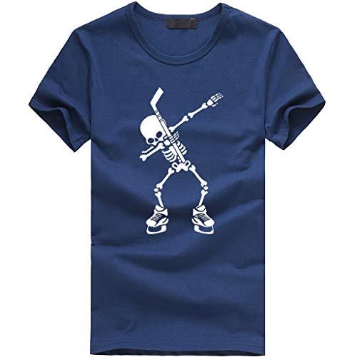 ZZBO Tshirt Herren T Shirt Herren Sommer Tee Kurzarm Round Hals Slim Fit Moderner Totenkop Druck Männer T-Shirt Herren Crew Neck Hoodie-Sweatshirt Hemd Herren Hemden Herren Top Oberteile S-XXL