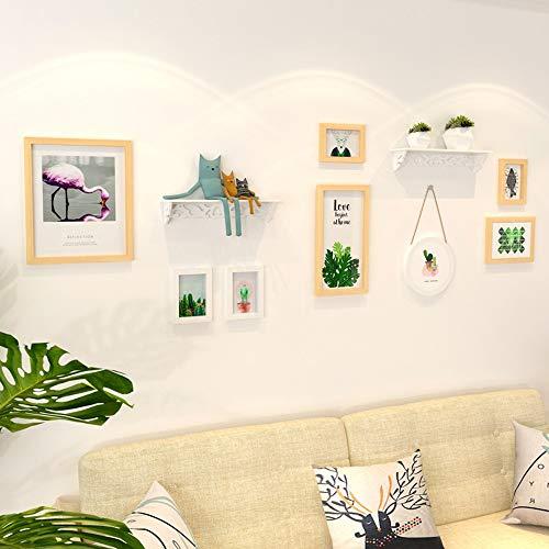 WHSS Marcos de fotos pastoral simple pequeño fresco pintura decorativa combinación sala de estar dormitorio sofá reloj foto pared marco de fotos de madera maciza colgante marco de fotos