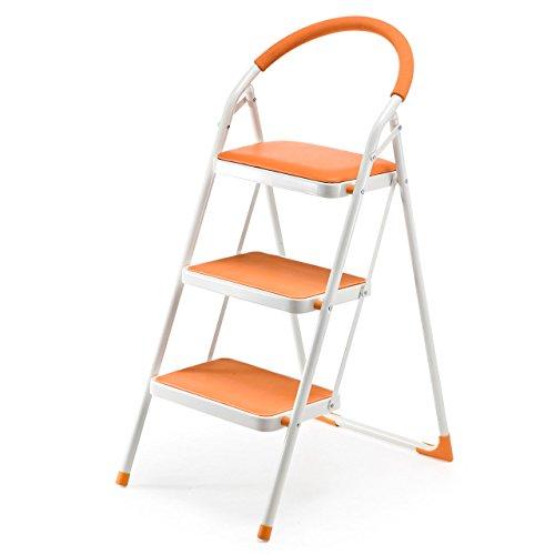 サンワダイレクト 踏み台 折りたたみ クッション付 3段 滑り止め 脚立 はしご オレンジ 150-SNCH003D