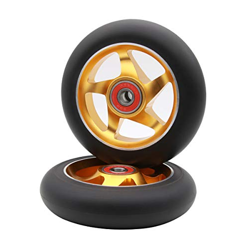 2Pcs 100 mm Pro Stunt Scooter Wheels with Abec 9 Bearings for MGP/Razor/Lucky/Envy/Vokul Pro Scooters Replacement Wheels(Gold)