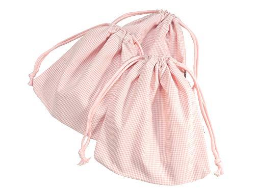 cottonNINA 巾着袋3枚セット 両絞りタイプ 横21×縦23cmサイズ KBW2123SET3 (ピンクギンガム)