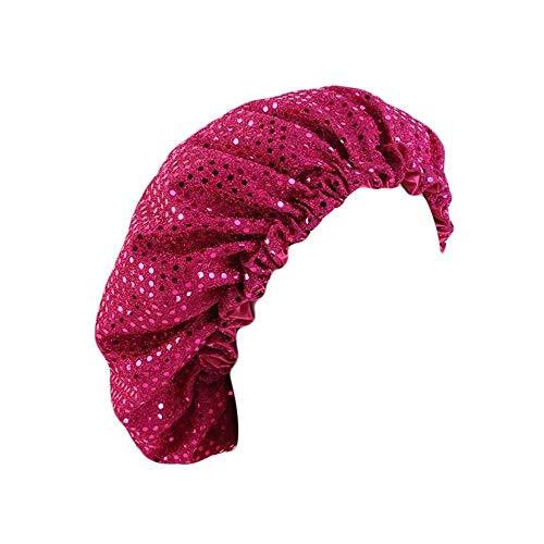 Doble capa de satén forro noche sueño Cap mujeres lentejuelas brillo turbante ajustable