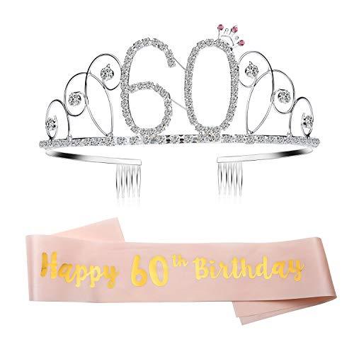 GuKKK Geburtstags-Krone 60. Geburtstags Kristall Tiara Krone Birthday Geburtstag Schärpe Prinzessin Haar-Zusätze Haarreif Tiara Stirnband Mädchen Party Deko Accessoires Geschenk