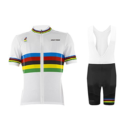 Uglyfrog Neue Radsport Anzüge Herren Kurzarm Trikots+Bib Kurze Hosen Gel Pad Summer Cycling Kit Triathlon Clothes für Radsport Rennrad Einzigartig Designs