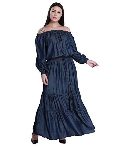 Women's Off The Shoulder Lantern Sleeve Denim Blue Pleated Dress (M)