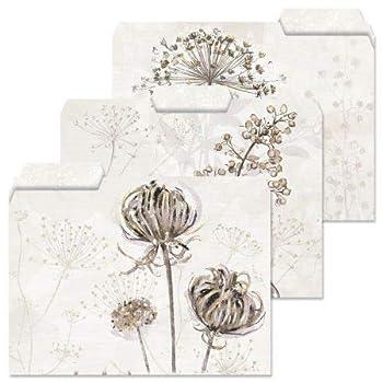 Dried Florals File Folders - Set of 12  3 Designs  1/3 Cut Staggered Tabs Letter Size Designed Folders