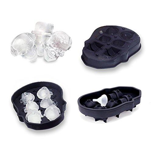 Schimer ijsblokjesvorm, 6-voudige ijsblokjesvorm, siliconen, zwart, BPA-vrij, voor familiefeestjes, whisky cocktails, sap, chocolade, snoep