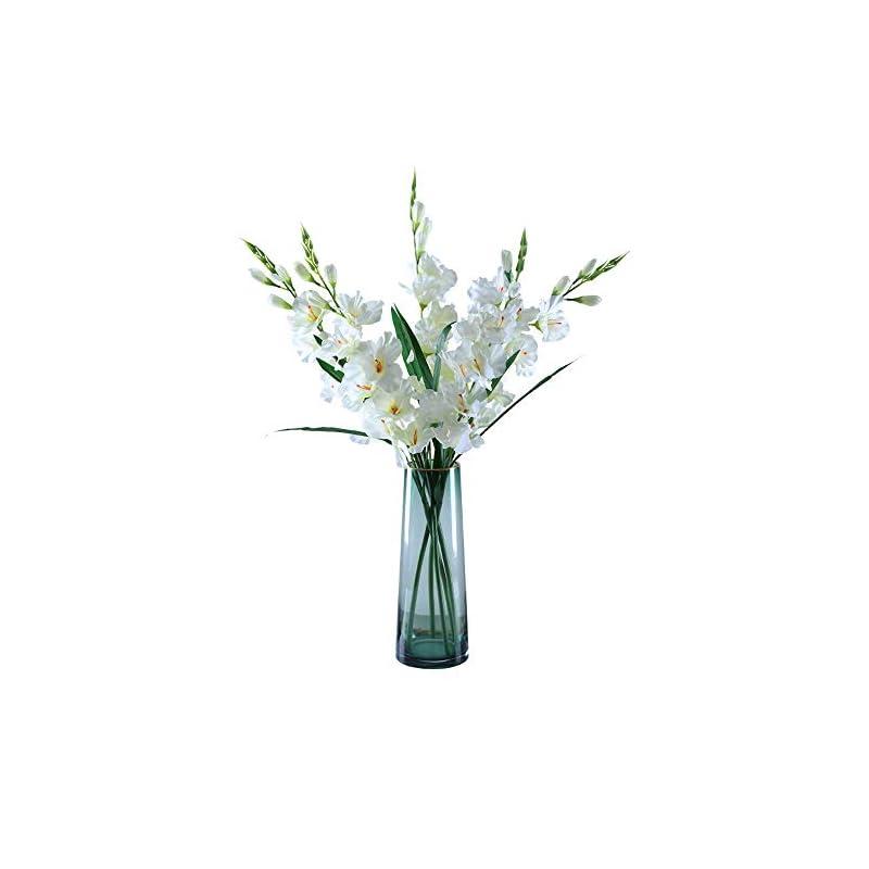 silk flower arrangements cmjlbm 5pcs 30'' orchids artificial flowers single stem gladiolus fake flowers for home garden party wedding decoration(vase not included)