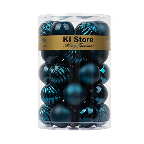 """KI Store 34ct Christmas Ball Ornaments Shatterproof July 4th Patriotic Decor Christmas Decorations Tree Balls SMALL for Holiday Wedding Party Decoration Tree Ornaments Hooks included 1.57"""" (40mm Blue)"""