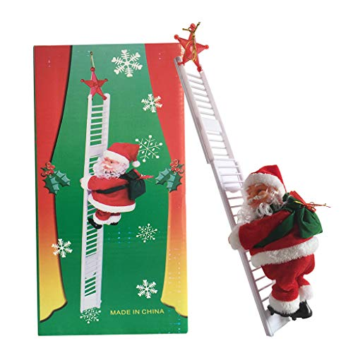 Ecledo Christmas Electric Santa Claus Doll Climbing Ladder with Music Christmas Children Gifts Party Home Decorations