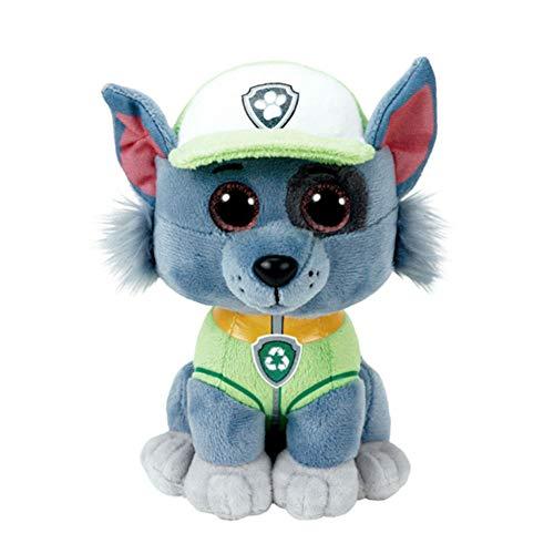 mopalwin Peluche de la Patrulla Canina, Rocky con ojos brillantes, selección de figuras de peluche con ojos brillantes, cuatro patas como perros de peluche acogedores, perros de peluche