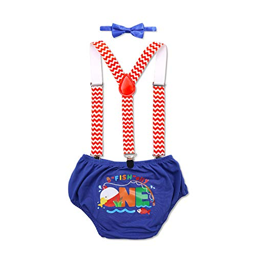 The Big One Baby Boy Cake Smash Outfit O-Fish-ally One Little Fisherman Gone Fishing Bobber Toddle Boys Suspender Diaper Cover Bow Tie Pants Supplies for Baby Boy First Birthday Party