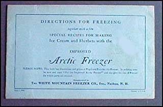 1930 Arctic Freezer Ice Cream Maker Booklet parts + recipes