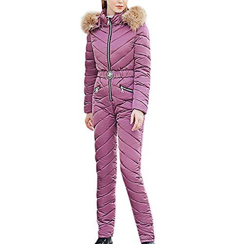 Auiyut Damen Winter Ski Overall Snowboardinganzug Skianzug Wetterfeste Anzug Winter Reißverschluss Baumwolloverall Dünne Ski Suit Winddicht Super Warm Skijacke und Schneehose