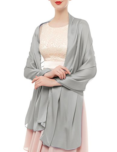 bridesmay Seide Halstuch 180 * 90cm Stola Schal Seidenschal Festlich Hochzeit für Kleider in verschiedenen Farben Silver Grey