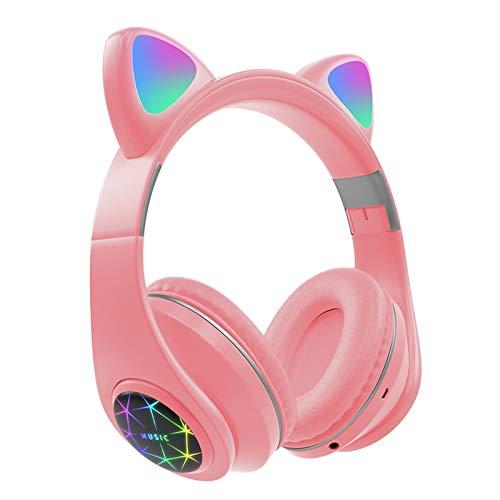 Nobranded Auriculares Bluetooth inalámbricos sobre la Oreja de Gato Auriculares con luz LED Plegable micrófono Incorporado y Control de Volumen para teléfonos - Rosa