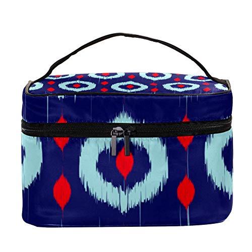 Ikat Style Trousse de Maquillage Cosmétique Rangement Organisateur - Trousse de Toilette de Voyage avec Poignée Pinceaux Maquillage Porte-Rouge à Lèvres