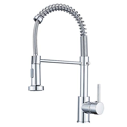 Cobbe Kitchen Sink Mixer Tap, Spring Kitchen Faucet with Pull Down Sprayer, 2 Spray Modes High Arc Single Handle Lever Kitchen Tap (Chrome)…
