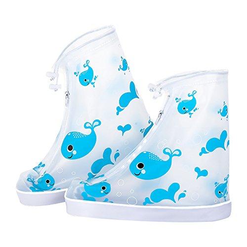 Kumkey Wasserdicht Regenschuhe Kinder Regen Überziehschuhe Schuhüberzieher Wasserabweisend Schuhüberzug Für Spazieren Gehen Wandern Radfahrer ,GEH zur Schule, Regenjacke für die Schuhe (Blau Wal, S)